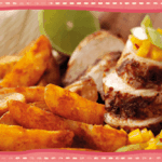 Jamaican Jerk Chicken with Mango Chilli Salsa & Spicy Wedges
