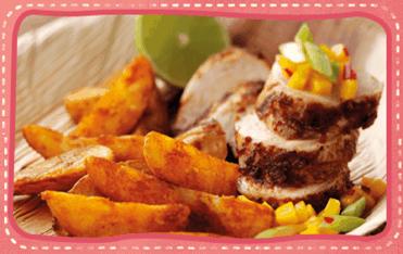 Jamaican Jerk Chicken with Mango Chilli Salsa & Spicy Wedges
