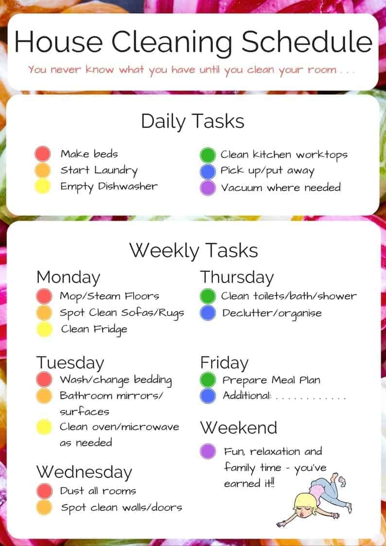 household chores schedule