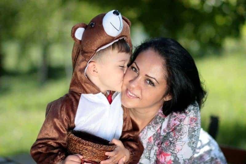 Hug Teddy Bear Kiss Family Son Love Mom
