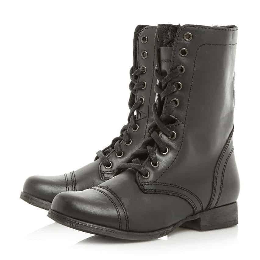 Steve Madden - Black leather 'Troopa' block heel biker boots