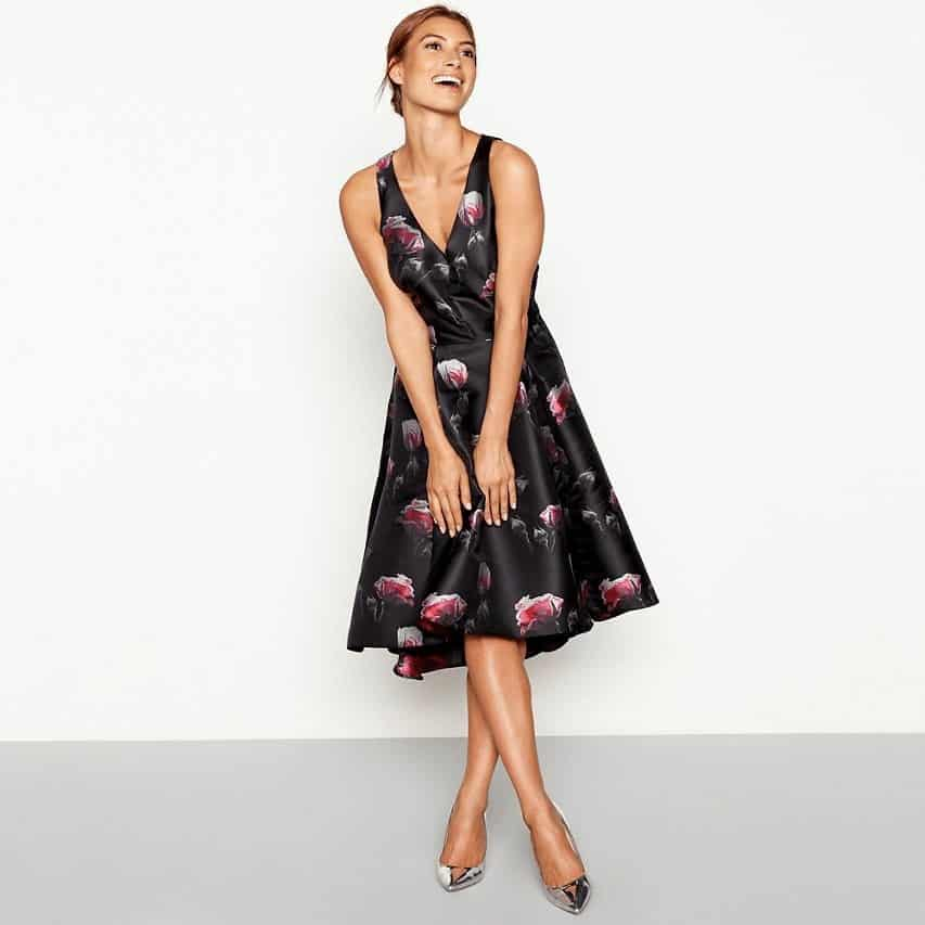 Debut - Black floral jacquard sleeveless high low prom dress