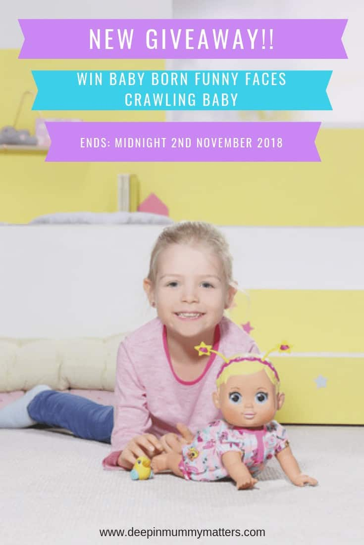 Crawling is so much fun for Funny Faces Crawling Baby with her cheerful grin and big bright eyes. Press her heart-shaped tummy button and watch her move around the room with an adorable wiggle motion.