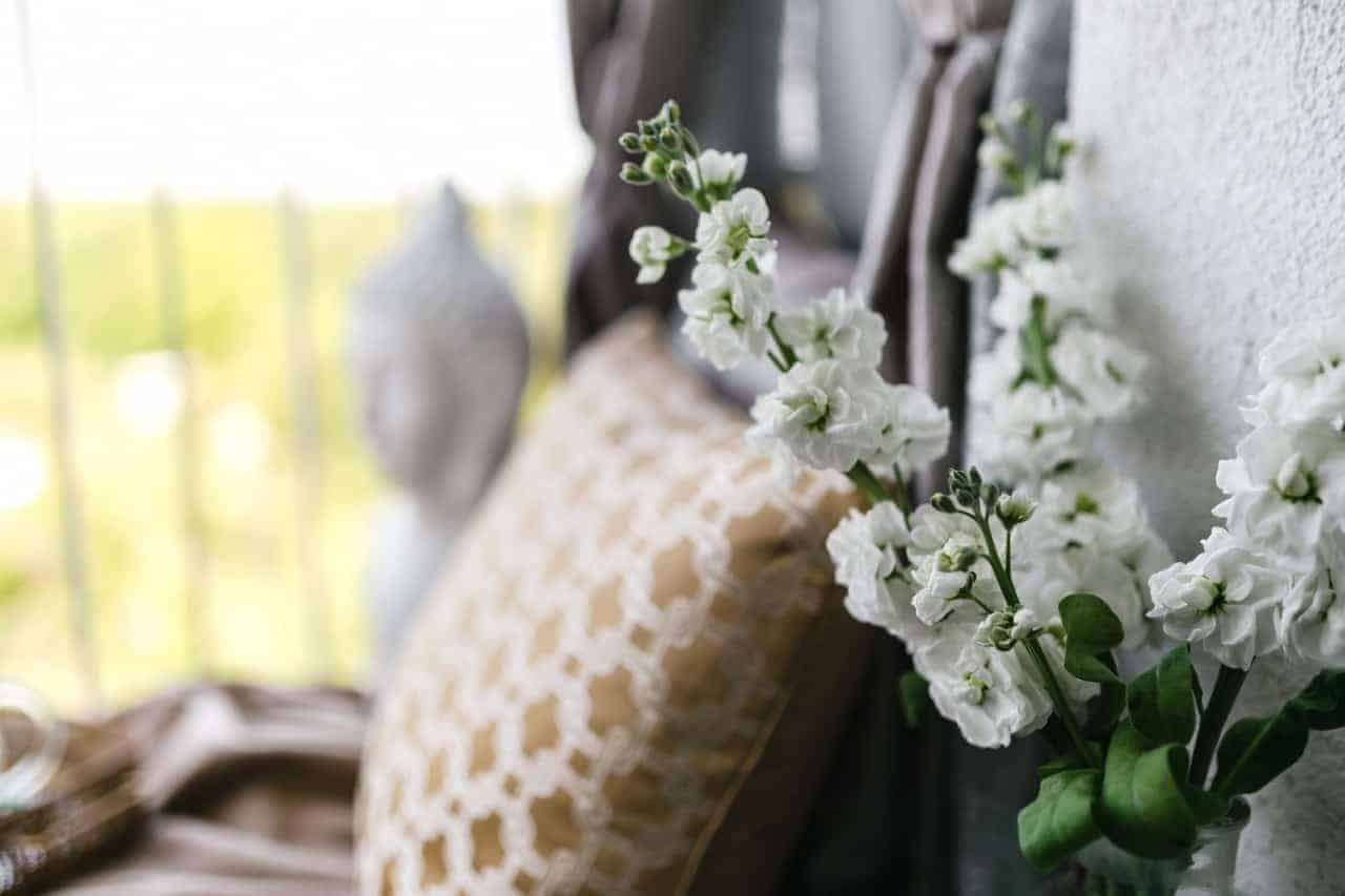 White flowers and pillow
