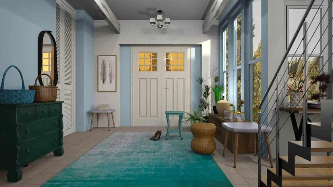 Blue Mirror Hall Carpet Door Staircase Vestibule