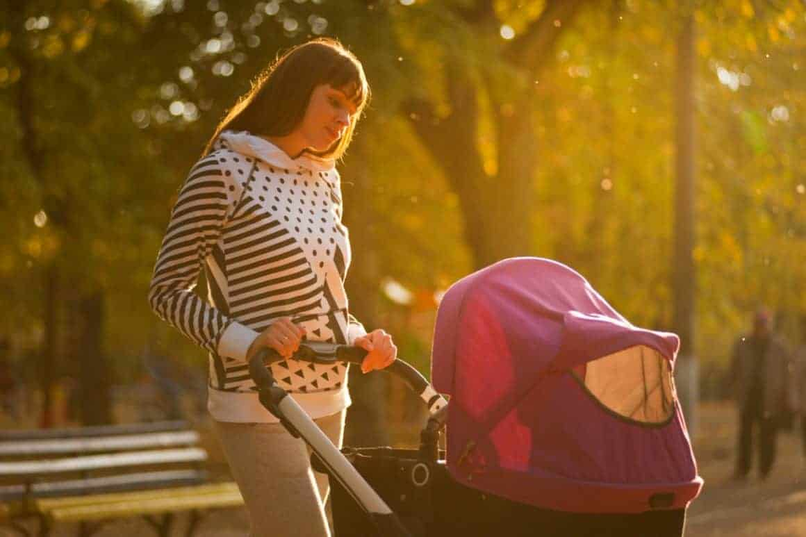 Lady with baby stroller