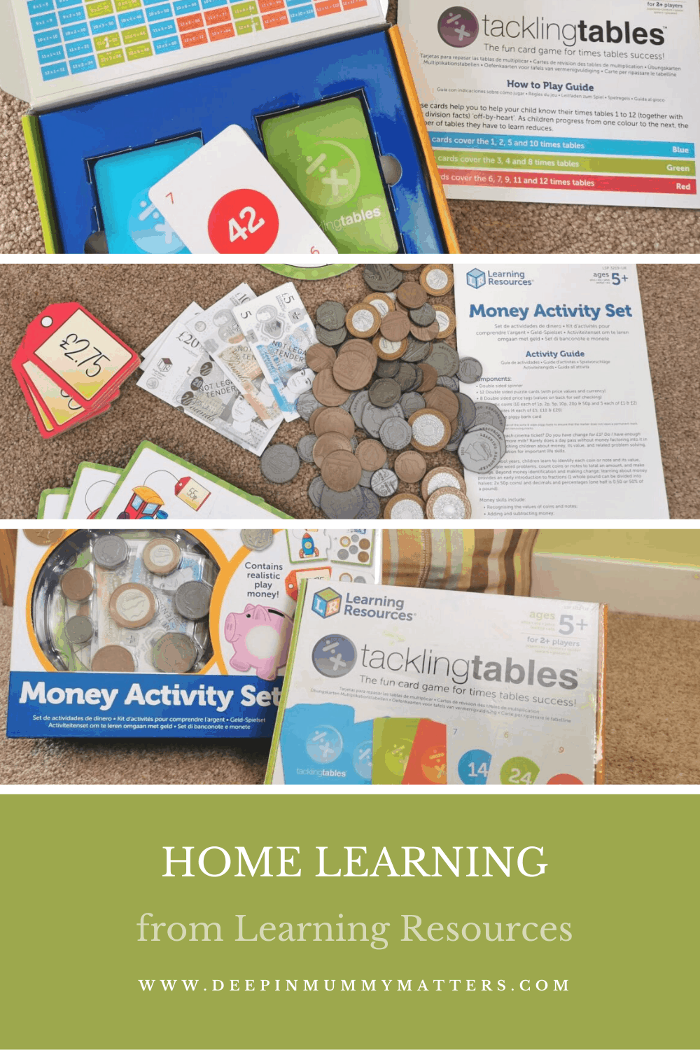 We have been using the Tackling Times Tables and Money Activity Set from Learning Resources to help supplement our homeschooling during the lockdown.