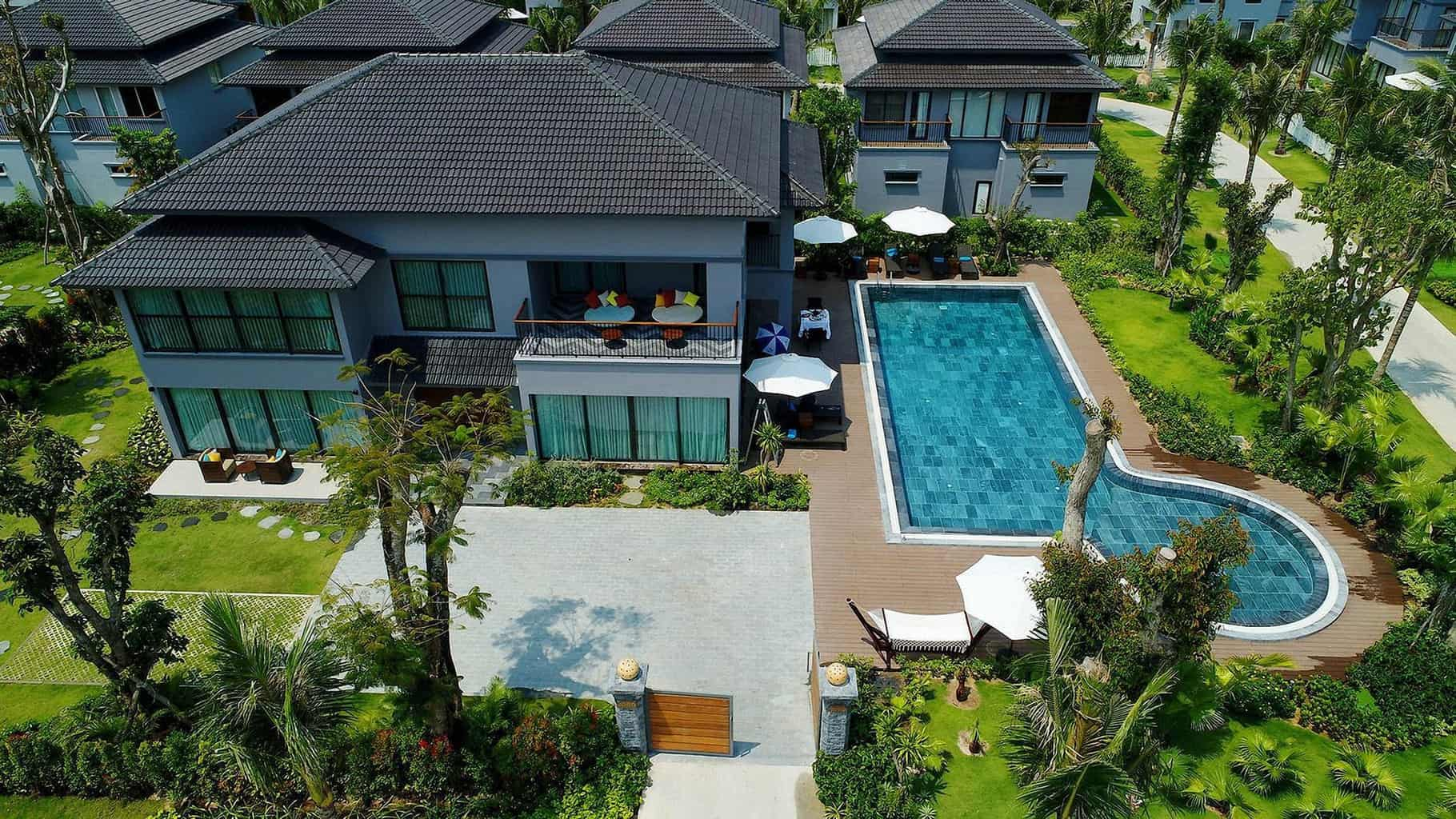 bird s eye view of a house with swimming pool