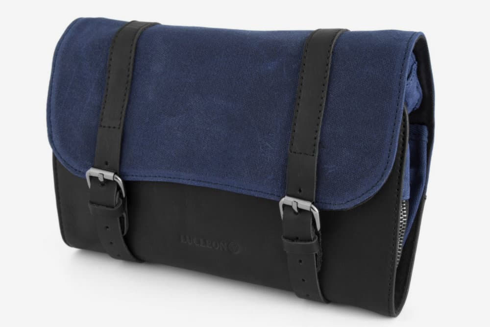 Lucleon Navy Blue Grover Waxed Canvas Rollout Washbag
