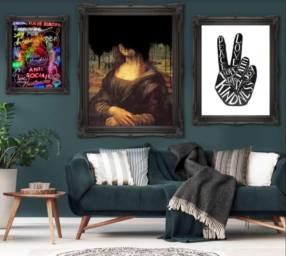 Drippy Mona Lisa Black Graffiti Print from Ink & Drop