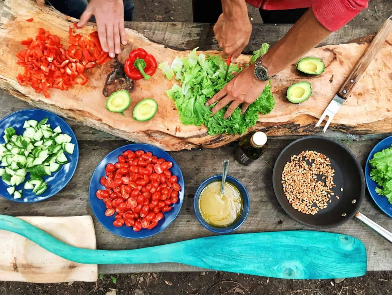 Preparing fresh salad