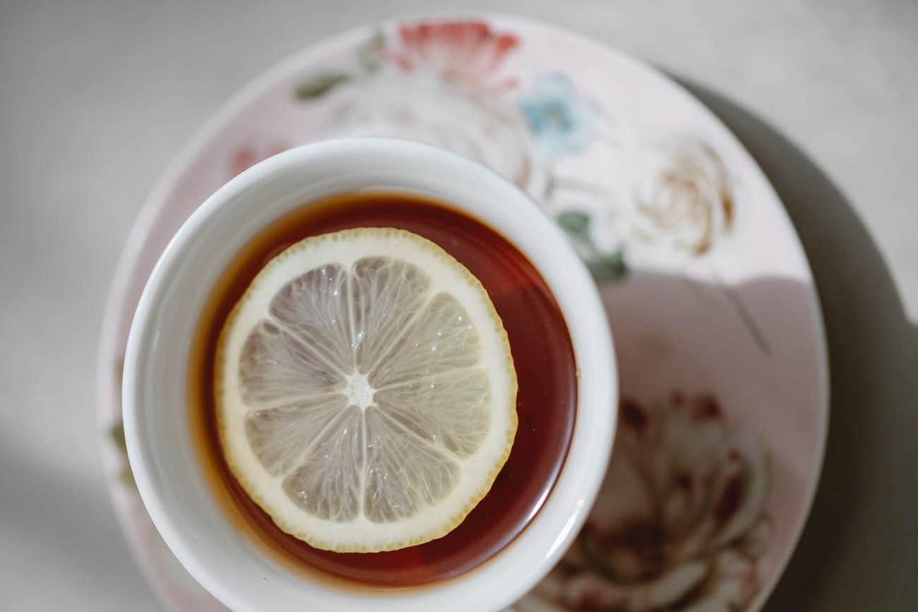 delicious hot tea with lemon