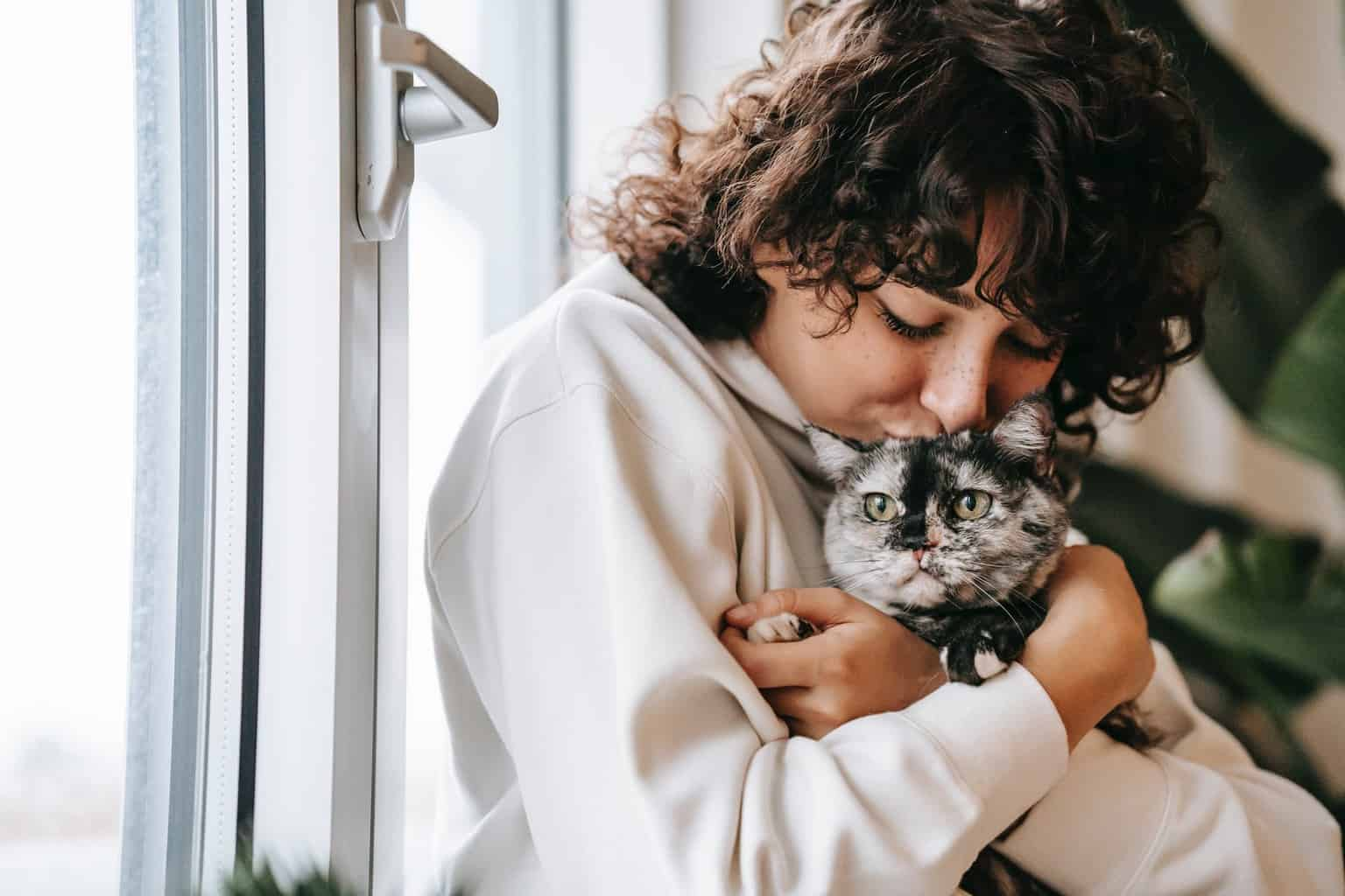 crop woman kissing charming cat near window at home