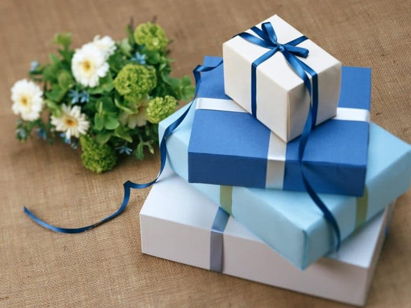 Gift boxes and flowers